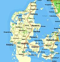 Dánia autó térkép